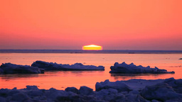 Drift ice with Sunrise Footage