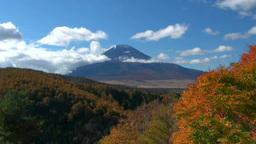 二十曲峠から望む富士山と紅葉 Stock Video Footage
