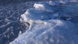 Freezing Lake Kussharo and Mount Mokotoyama Stock Video Footage