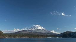 本栖湖から望む富士山 Stock Video Footage