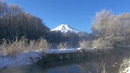 霧氷と富士山 Stock Video Footage