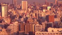 朝焼けのビル群と隅田川 Stock Video Footage