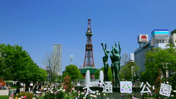 Odori Park and Sapporo TV Tower Stock Video Footage