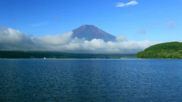 Mount Fuji and Lake Yamanaka Stock Video Footage