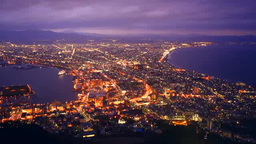 Night view of Hakodate Stock Video Footage