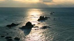 強風の襟裳岬の朝 Stock Video Footage