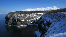 凍る湯の華の滝と知床連峰 Footage