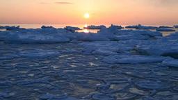 流氷の海の日の出 Stock Video Footage