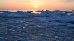 流氷の海の日の出 Footage