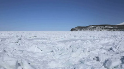 知床西海岸の流氷と知床連峰 Stock Video Footage