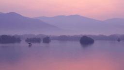 裏磐梯の朝靄の桧原湖 Footage