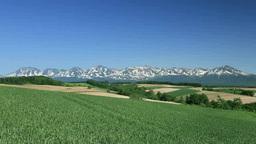 小麦畑の丘と十勝岳連峰 Stock Video Footage