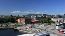 ノルウェー,,オペラハウスから見るオスロ市街... Stock Video Footage