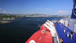 客船DFDSとオスロ市街 Stock Video Footage