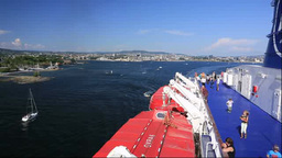 客船DFDSとオスロ市街 Footage