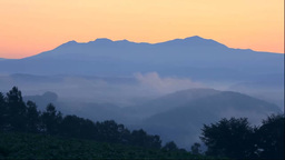 Hill And Mt. Taisetsuzan In The Morning Mist stock footage