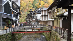 Ginzan Onsen hot spring of autumn leaf colors Stock Video Footage
