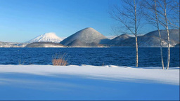 Lake Toya and Nakajima island in winter Stock Video Footage