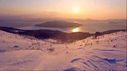 美幌峠から屈斜路湖の日の出と地吹雪 Footage
