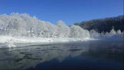 霧氷と気嵐の尻別川 Footage