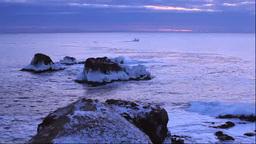 冬の霧多布岬の朝と漁船・湯沸岬 Footage