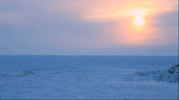 Drift ice and lighthouse in the morning Footage