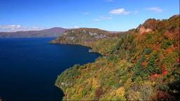 旧瞰湖台から紅葉の十和田湖 Stock Video Footage