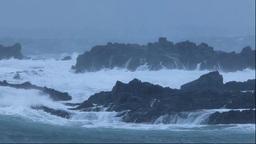 荒れる積丹の冬の海 Stock Video Footage