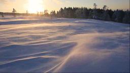 美幌峠の夕景と地吹雪 Footage