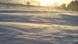 美幌峠の夕景と地吹雪 Stock Video Footage