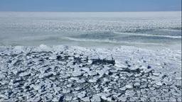 能取岬から見るオホーツク海の流氷と波 Footage
