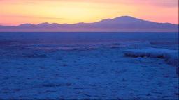 北海道 流氷と知床半島の夜明 Stock Video Footage