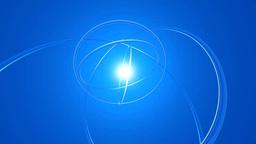 青い空間に回転する透明なリングのオブジェ Footage