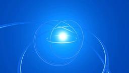 青い空間に回転する透明なリングのオブジェ Stock Video Footage