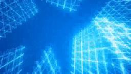 青い空間に回転するメッシュ状のオブジェ Footage