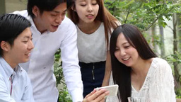 Young people seeing smartphones Live Action