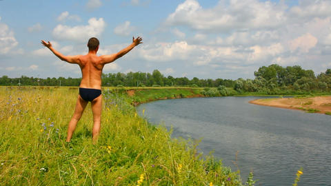 manwithhands upon the river,summer Stock Video Footage