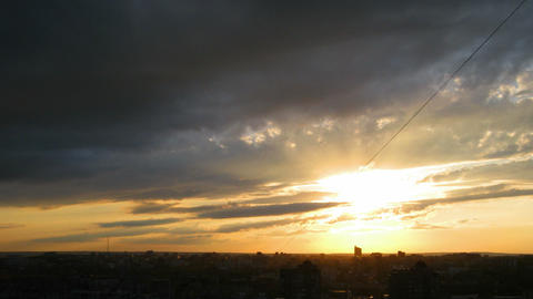 timelapse with beautiful sunset over town Stock Video Footage
