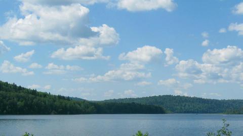 summer landscape with mounatin lake - timelapse Stock Video Footage