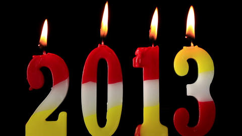 Happy New Year 2013, candles burning Stock Video Footage