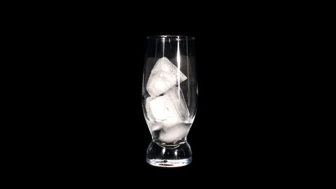 Timelapse of melting ice cubes in a glass against black... Stock Video Footage