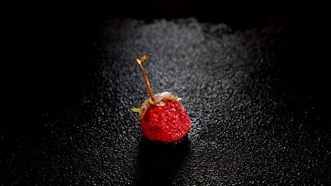 Time-lapse strawberry berry inside of melting ice cube on... Stock Video Footage