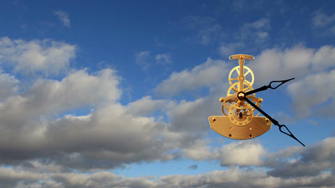 Clock With Clouds, timelapse Stock Video Footage
