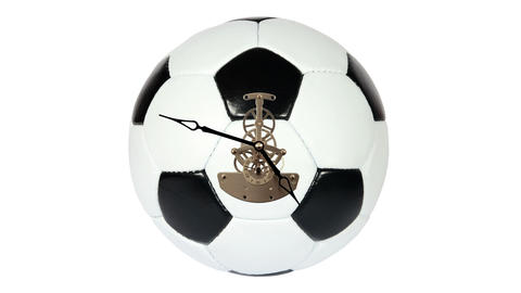 Soccer Ball Clock on the white background, Timelapse Stock Video Footage