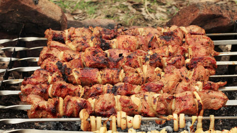 cooking shashlik on fire, timelapse Stock Video Footage