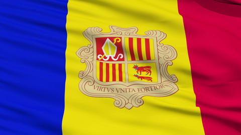 Waving national flag of Andorra Stock Video Footage