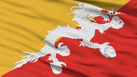 Waving national flag of Bhutan Stock Video Footage