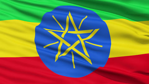 Waving national flag of Ethiopia Stock Video Footage