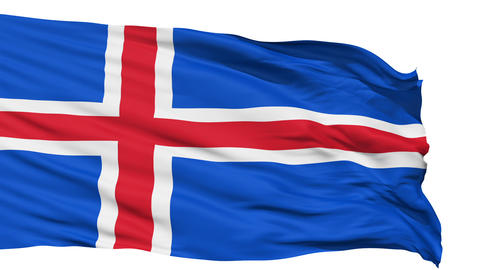 Waving national flag of Iceland Animation
