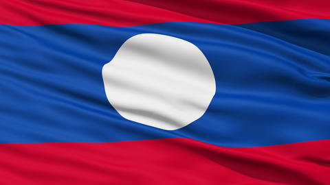 Waving national flag of Laos Stock Video Footage